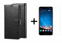Чехол (книжка) Wallet Glossy с визитницей для Huawei Mate 10 Lite + Защитное стекло Ultra 0.33mm для Huawei Mate 10 Lite (в упаковке)