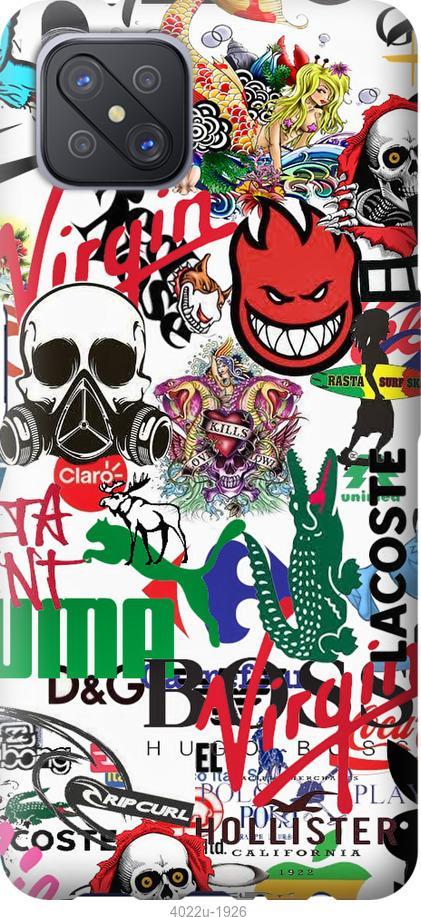 Чехол на Oppo A92S Many different logos