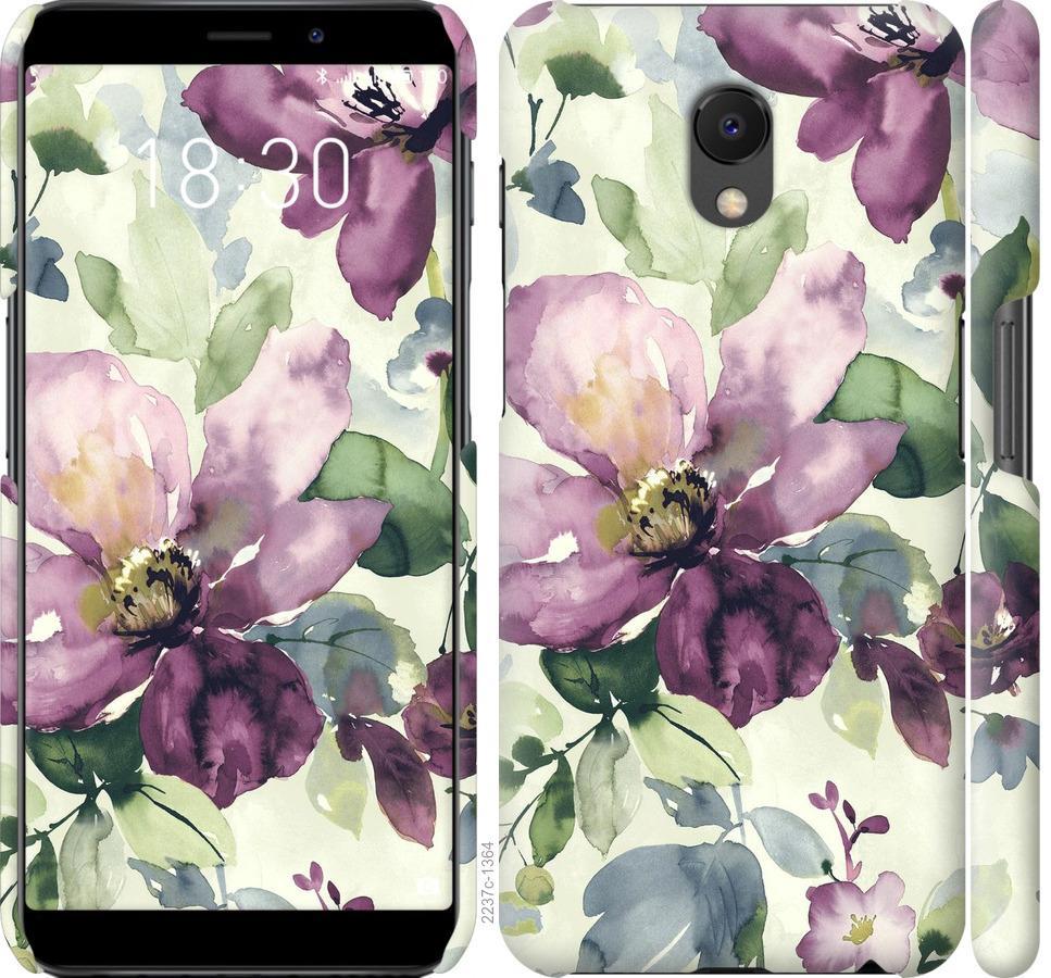 Чехол на Meizu M6s Цветы акварелью