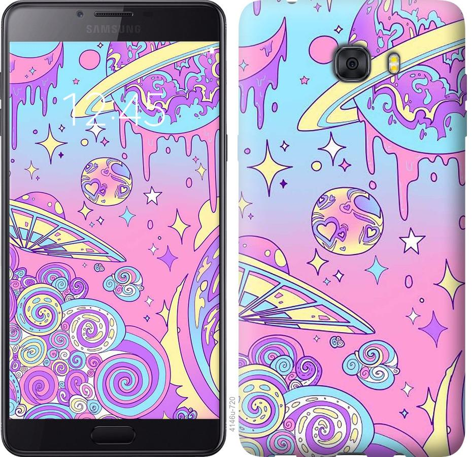 Чехол на Samsung Galaxy C9 Pro Розовая галактика
