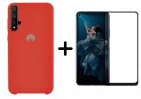 Защитное стекло 2.5D CP+ (full glue) для Huawei Honor 20 / Nova 5T + Чехол Silicone Cover (AA) для Huawei Nova 5T
