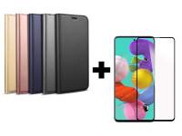 Защитное стекло 2.5D CP+ (full glue) для Samsung Galaxy A51 + Чехол-книжка Dux Ducis с карманом для визиток для Samsung Galaxy A51