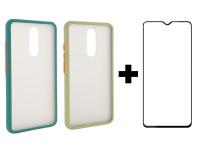 Защитное стекло 2.5D CP+ (full glue) для Xiaomi Redmi 8 / 8a + TPU+PC чехол Color Buttons для Xiaomi Redmi 8 / 8a