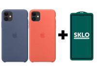 "Защитное стекло SKLO 5D (full glue) для Apple iPhone 11 (6.1"") / XR + Чехол Silicone case (AAA) для Apple iPhone 11 (6.1"")"