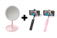 Зеркало Led Cosmetic Mirror + Монопод для селфи Hoco K9A Graceful (3.5mm)