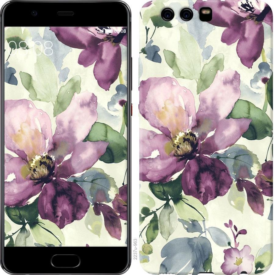 Чехол на Huawei P10 Plus Цветы акварелью